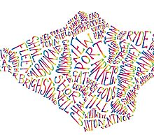 Isle of Wight text map in rainbow colours by BlueToolips
