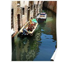 Typical Scene in Venice- Boat Repairs Poster
