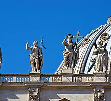 Statues, St Peter's Dome, The Vatican by Al Bourassa