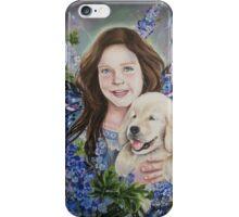 Fairy child with golden retriever puppy iPhone Case/Skin