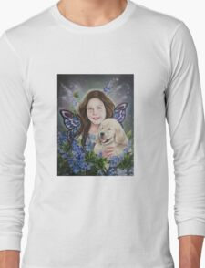 Fairy child with golden retriever puppy Long Sleeve T-Shirt
