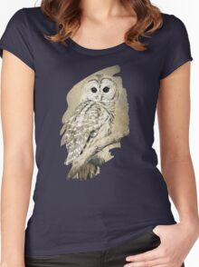 Barred Owl Bw Sepia Art Women's Fitted Scoop T-Shirt