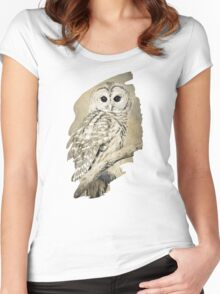 Owl Bw Sepia Art Women's Fitted Scoop T-Shirt