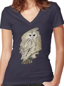Barred Owl Bw Sepia Art Women's Fitted V-Neck T-Shirt