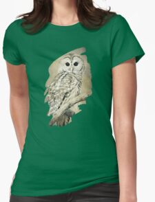 Barred Owl Bw Sepia Art Womens Fitted T-Shirt