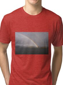 Double rainbow over sea and islands at Bergen Norway Tri-blend T-Shirt