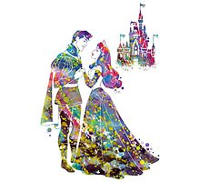 Sleeping Beauty Aurora Disney Princess and Disney Castle Watercolor by bittermoon