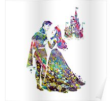 Sleeping Beauty Princess Aurora and Prince Phillip Love Watercolor Poster