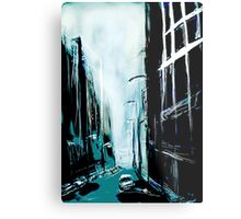 Blue Foggy City Metal Print