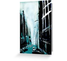 Blue Foggy City Greeting Card