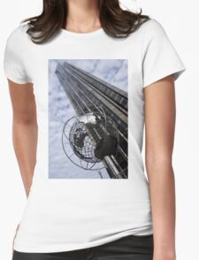 Silver and Blue Planet Earth Womens Fitted T-Shirt