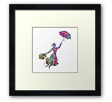 Mary Poppins Silhouette Watercolor Framed Print