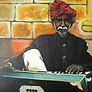 Old Man Playing Harmonium by ramya kapula