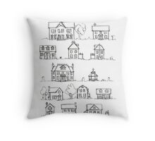 Sketching a Neighborhood Throw Pillow