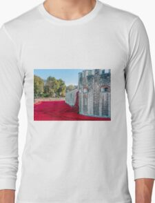 Cascading Poppies, Tower of London Long Sleeve T-Shirt