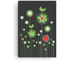 Whimsical Garden Birds and Flowers Canvas Print