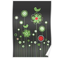 Whimsical Garden Birds and Flowers Poster