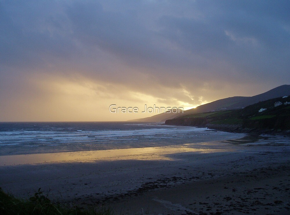 Gold sunset over Inch Beach Ireland by Grace Johnson