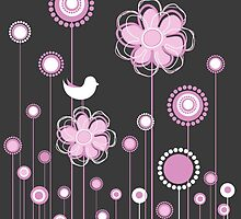 Whimsical Garden Birds and Flowers by EveStock