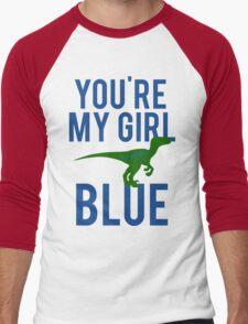 You're My Girl Blue Dinosaur Men's Baseball ¾ T-Shirt