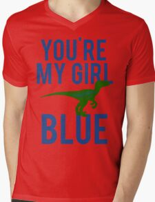 You're My Girl Blue Dinosaur Mens V-Neck T-Shirt