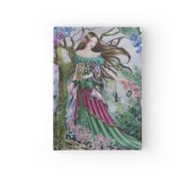 Spring fairy fantasy flower garden Hardcover Journal