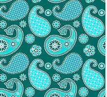 Paisley, Turquoise, Aqua and Teal by Marymarice