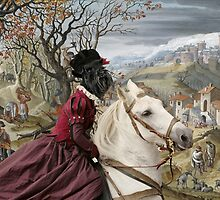 Miniature Schnauzer Art  - A wide hilly landscape with a Noble Lady and Woodcutters by NobilityDogs