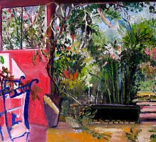 Painting of my back yard. by Marilyn Baldey