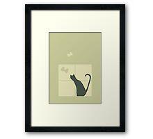Whimsical Cat Silhouette Vector Art Framed Print