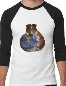Earth Day Sheltie Men's Baseball ¾ T-Shirt
