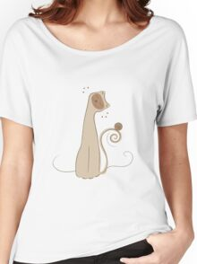 Cheerful Cat Silhouette Vector Art Women's Relaxed Fit T-Shirt