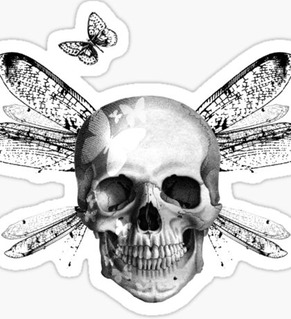 Skulls, wings and butterflies Sticker