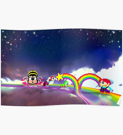 Rainbow Islands retro pixel art Poster