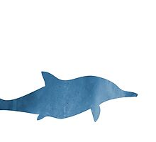 Blue Watercolor Dolphin Silhouette by anabellstar