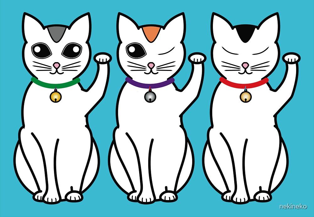 Three Lucky Cats by nekineko