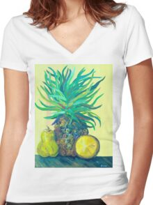 Pear and Pineapple Women's Fitted V-Neck T-Shirt