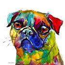 Colorful Whimsical Watercolor Pug dog painting Svetlana Novikova by Svetlana  Novikova