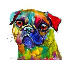 Colorful Whimsical Watercolor Pug dog painting Svetlana Novikova by Svetlana  Novikova