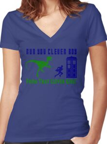 Run Clever Boy, From That Clever Girl Women's Fitted V-Neck T-Shirt