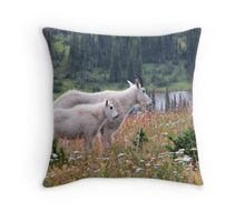Mountain Goats at Hidden Lake Throw Pillow
