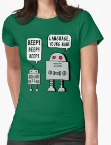 Beeping Robot Womens Fitted T-Shirt