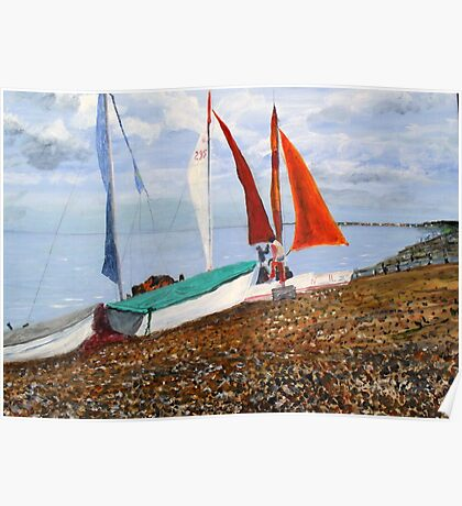 Boats on Shore, Seasalter, Whitstable Poster