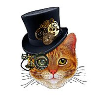 Orange Cat with Steampunk Hat and Monocle Photographic Print