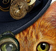 Orange Cat with Steampunk Hat and Monocle Sticker