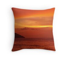 The Day Ends orange Throw Pillow