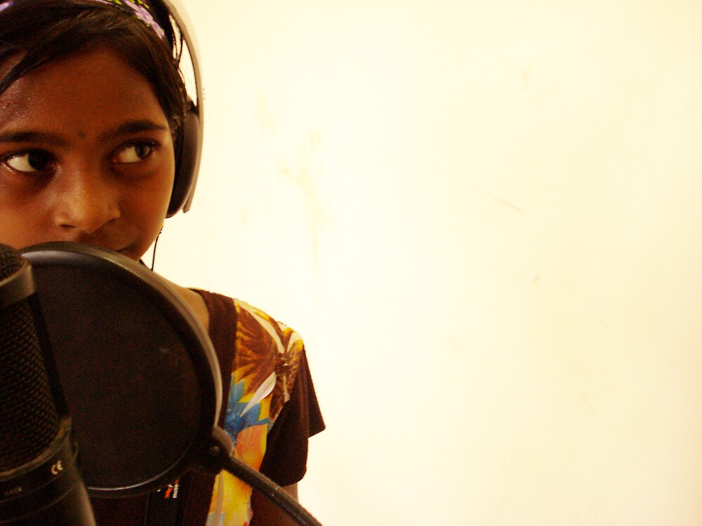 At mic in India by Bridget a'Beckett