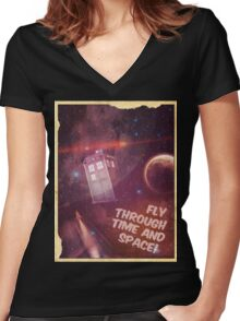 Retro Doctor Who Tourism Women's Fitted V-Neck T-Shirt