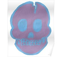 Purple Cracked Skull Poster