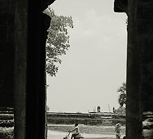 At the Temple Gate Siem Reap by JessandLou